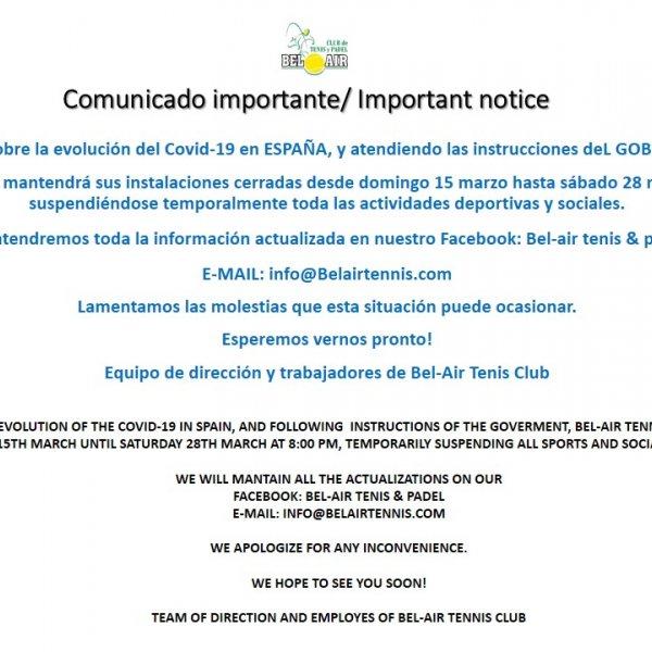 COMUNICADO IMPORTANTE/ IMPORTANT NOTICE