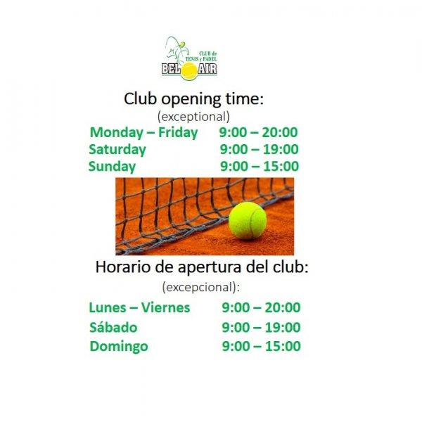 HORARIO DE APERTURA ( EXCEPCIONAL) / CLUB OPENING TIME ( EXCEPTIONAL)