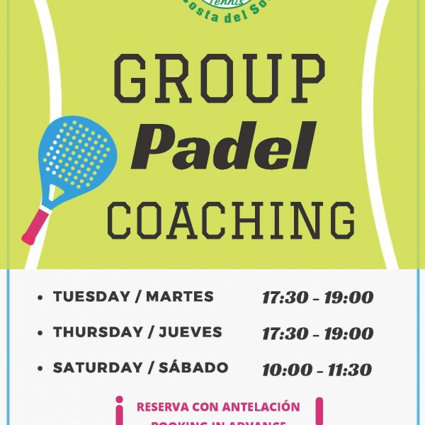 GROUP PADEL COACHING SUMMER SCHEDULE