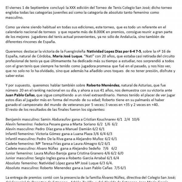 NOTA DE PRENSA FINAL XXX TORNEO DE TENIS COLEGIO SAN JOSÉ