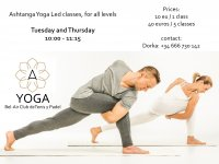 ASHTANGA YOGA LED CLASSES FOR ALL LEVEL/ CLASES DE YOGA ASHTANGA PARA TODOS LOS NIVELES